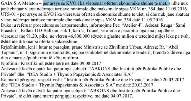 Faksimile e njoftimit të bërë nga Ministria e Zhvillimit Urban