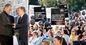 Në foto: (majtas)Samir Mane, Henri Çili (djathtas) Nga protesta e studentëve të UET-së