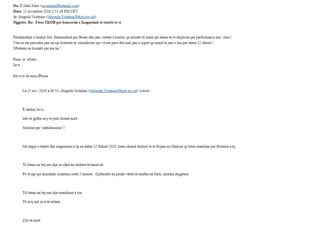 """""""S'kam ftesë zyrtare për në Gala"""", TKOB nxjerr email-et dhe SMS-të me Inva Mulën: E kemi ftuar"""